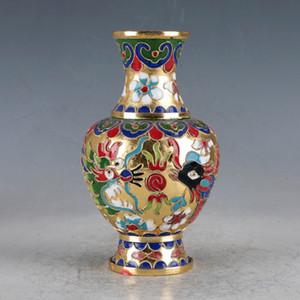 Vase DragonPhoenix Peint À La Main Chinois Cloisonné JTL1011