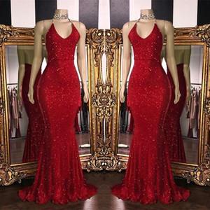 2020 New Sparkly Red Pailletten Abendkleider Halter Mermaid Lange Abendkleider Low Back Arabisch-Partei-Kleid BC1085