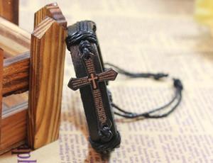 Leather Bracelet Cross Bible Charm Braided Bracelet Urban Jewelry Handmade Black Genuine Leather Adjustable Wristband retro Jewelry