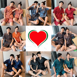 Pajamas women's sexy short-sleeved cardigan Home clothes Simulated Silk suit couples printing imitation silk men's home wear