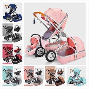 3 em 1 multifuncional Baby Stroller Folding Carriage ouro alta Paisagem Red Baby Stroller recém-nascido Assistant Mãe