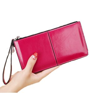 Varnish PU Leather Long Wallet for Women 2019 with Wrist Strap Large Capacity Hasp Purse Zipper Money Bag Lady Leather Clutch
