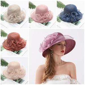 Novo estilo coreano flor chapéu guarda-sol lado largo cap brim das mulheres de Verão do partido Folding praia protetor solar chapéu de sol chapéus T9I00327