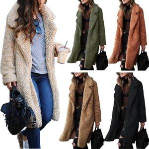 MEJADAS DE LANA DE MUJERES 2021 Otoño Invierno Abrigo de piel de imitación Mujeres Cálido Oso de peluche Damas Chaqueta Mujer Outwear Peluche abrigo largo