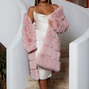 Dicke super warme Pelzmantel Langarm Pelzry Faux Lange Jacke Winter Mode Frauen Faux Pelzmantel Oberbekleidung Mantel Plus Größe
