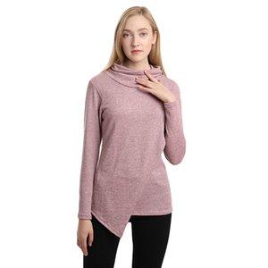 GAOKE Women Solid Long Sleeve Sweatshirt 2020 Autumn Winter Gray Irregular Pullover Hoodies