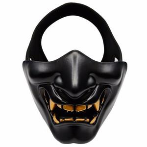 Halbe Gesicht Airsoft Schablone Halloween-Kostüm Cosplay BB bösen Dämon Monster Kabuki Samurai Hannya Oni halbe Abdeckung Prajnä Masken SH190922