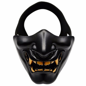 Fronte mezzo Airsoft Maschera di Halloween costume cosplay BB Male Demone Mostro Kabuki Samurai Hannya Oni copertura mezza Prajna maschere SH190922