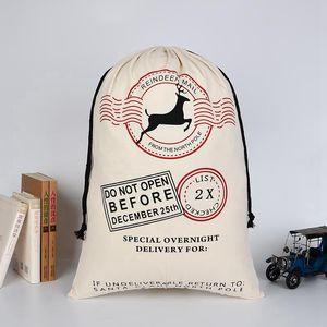 38 СТИЛИ Рождество Sants Мешки Большой парусиновый мешок с оленями кулиской Xmas сумка Рождественские подарочные пакеты для детей