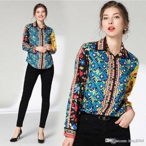 Women's Shirt Casual Hepburn Wind Summer Fashion Shirt Print POLO Collar Print Slim Long Sleeve Joker Long Sleeve Button Shirt e14