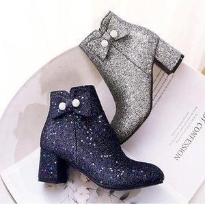 Küçük Büyük Beden 32 33 43 44 45 Glitter payetli Mavi Gümüş Papyon Chunky Topuk Ayak bileği Boots Kadınlar Kış Ayakkabı 42 To