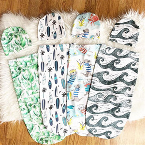INS Newborn Baby Swaddle Wrap Sleeping Bags Hats Sets Animal floral Muslin Wrap Hat Toddler Cocoon Swaddling Sleep Sacks Swaddle Caps E22602