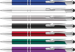 barato oficina de presupuesto utilización de grabado logotipo de aluminio metal clásico bolígrafos promocionales lápiz táctil bolígrafo