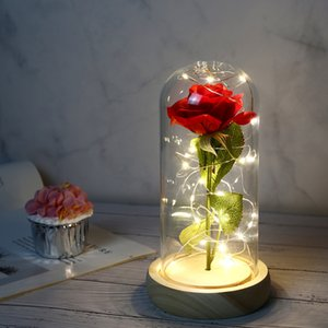 DHL 배송 XD23053 포장 발렌타인 데이 선물 유리 커버 로즈 LED 조명 시뮬레이션 불멸의 장미 꽃 상자