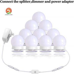 Hollywood Style LED Vanity Mirror Kit lumières avec 10 ampoules à intensité variable pour le maquillage Coiffeuse et Plug alimentation en lumières Fixtur