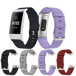 Correa para Fitbit Charge 3 Pulsera Inteligente Reloj de Reemplazo Banda de Lona Nylon Denim Hombres Mujeres Smartwatch banda Accesorios