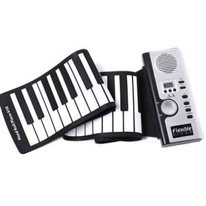 Portable 61 Teclas de Piano Flexible de Silicona Electrónica Digital Roll Up Soft Teclado de Piano Para Niños Regalo de Cumpleaños Artículos de Novedad C6906