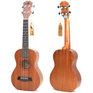 Alta Qualidade 21 Inch Ukulele Sapele Soprano Beginner Ukulele guitarra Dolphin Padrão Ukulele Mahogany Neck delicada Peg de ajustamento 4 Cordas Woo