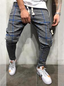 Moda Dantel Yukarı Gevşek Kalem Pantolon Erkek Tasarımcı Pantolon Erkek İnce Ekose Casual Pantolon yazdır