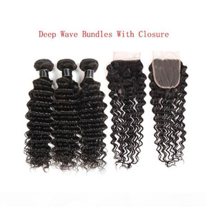 L Brazilian Deep Wave 3 Bundles Deals With Lace Closure Cheap Loose Deep Wave Kinky Curly Water Wave Remy Human Hair Weave Extensions