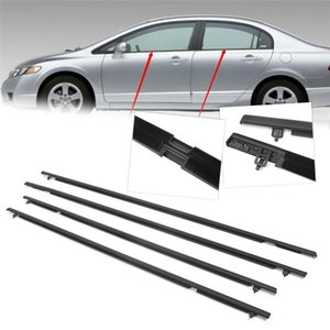 4pcs Car Outside Window Moulding Weatherstrip Seal Belt Weather Strip For Honda Civic 2006 2007 2008 2009 2010 2011