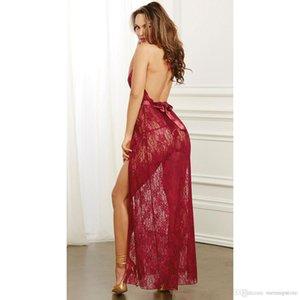 Women Lace Sexy Sleep Pajamas Robes Night Clothing Briefs Deep V-neck See Through Sleepwear