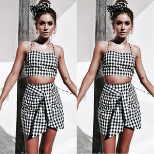 Summer Women Plaid Tops and Skirt Bottoms Set Party Club 2 pcs Sets Bodycon Short Mini Skirt Bandeau Backless Bandage Crop Tops