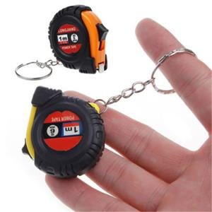 Criativa retrátil Régua Fita Crianças Altura Medida Chaveiro Mini bolso Pull Metric 1m Keyring cor aleatória
