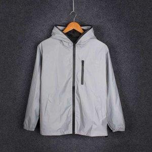 Long Sleeve Reflective jacket 2020 men women harajuku windbreaker jackets hooded hip-hop streetwear night shiny zipper coats