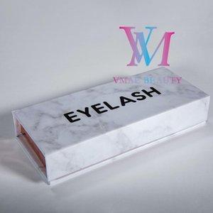 Mink Pestañas real 22-25mm Etiqueta 5D largo mullido 3D de visón visón pestañas privada latigazo del ojo con el patrón de mármol de la pestaña Caja de empaquetado de regalos