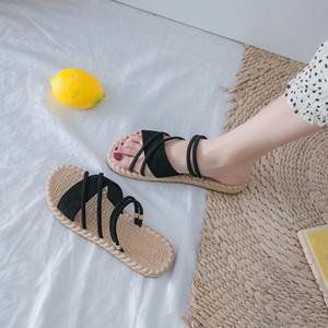 JUNSRM 2020 Zapatos Mujer del verano sandalias planas Sandalias Mujer tiras finas Gladiador playa sandalias de las señoras de las chancletas Diapositivas