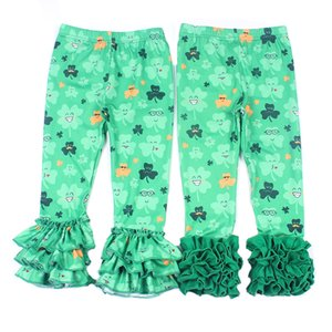 St. Patrick's Day Toddler Girls Pants Clover Green Plaid Icing Leggings Girls Triple Ruffle Pants Spring Girls Clothes Y200704