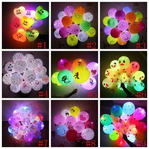 12inch LED clignotant ballon Cartoon lumineux d'éclairage Ballons enfants Cartoon Ballon avec lampe de Noël de soirée de mariage Décoration 9Styles GGA2192