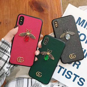 Strass Metall Biene Handyhülle für iPhone Xs max 7 7plus 8 8plus 6 6plus Xr X TPU weiche Seite + harte rückseitige Abdeckung