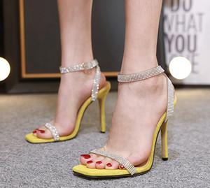 Alluring2019 Luxurious Fund Rhinestone Chaussures à Talons Hauts Carrés Un Mot Amenez Haut Avec Des Sandales 555-1