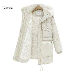 Lanxirui Winter Women's Wool Jackets Plus Size Cotton Padded Long Coat Slim Hooded Parkas Female Warm Jacket Outwear Clothing
