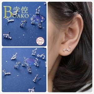925 Sterlingsilber-Ohrringe für Frauen Sternohrstecker Sternzeichen 12 Konstellation Zircon-Ohrring-Mädchen-Geschenk-Partei aretes B5