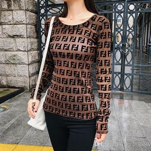 2019 Outono Mulheres meia luva O Neck Gauze letra impressa Elastic vigor Camiseta blusa Casual Streetwear moda camisa das senhoras cobre T