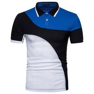 Magro lapela do pescoço manga curta Polo T-shirts Mens Verão Tops cores dos retalhos Mens Designer Polo Casual