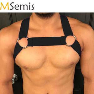 Mens Harness Bondage Gay Clubwear Costumes ombro Corpo Peito Muscle Harness Belt Correias Arnes Hombre Belt com O-ring