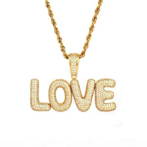 New A-Z Custom Name Small Bubble Letters Necklaces & Pendant Charm Men's Zircon Hip Hop Jewelry Rope Chain Two Color