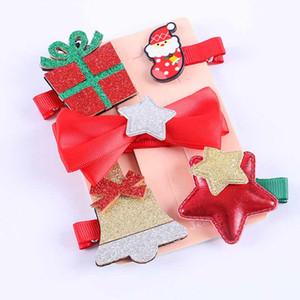 5pcs / set di Natale Newborn neonata del capretto Headwear Pom pom di Pin di capelli del nuovo anno neonate clip di capelli tornante regalo dei bambini