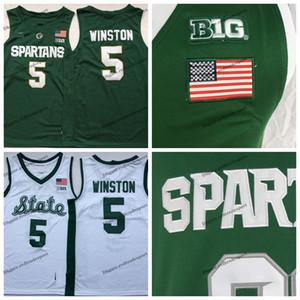 2019 Michigan State Spartans Cassius Winston Colégio Basquete Camisas Baratos # 5 Cassius Winston Verde Branco Costurado Camisas S-XXL