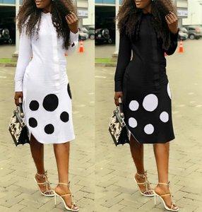 posizionamento Stampa digitale manica lunga a pois vestire skirt lunga