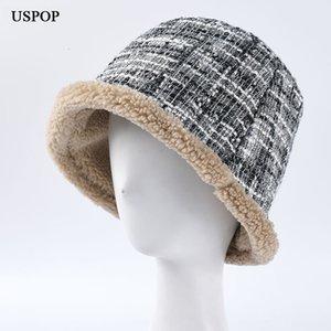 USPOP 2019 Women bucket hats female tweed plaid bucket hat thick warm velvet lined winter hats T191112