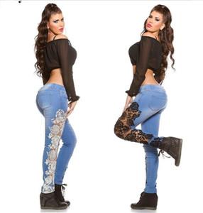 Gündelik Giyim sayesinde Kadınlar Tasarımcı Dantel Kasetli Jeans Moda Yüksek Bel Kot Bayanlar Bahar Skinny bakın