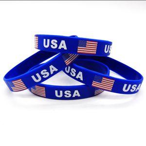 USA Flag Silicone Bracelet 2020 Presidential Election Trump Supporter Rubber Wristband American Flag Wrist Strap Bangle Accessories LJJP21