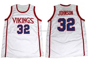 Lansing Everett Lisesi'nde Vikingler Magic Johnson # 32 Retro Basketbol Jersey Erkekler Dikişli Özel Sayı Adı Formalar
