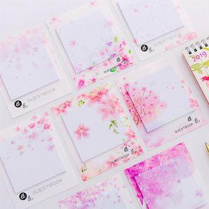 Sevimli Kawaii Kiraz Çiçekleri Memo Pad Yapışkan Notlar Kırtasiye Sticker Yayınlanan BT Planlayıcısı Çıkartmalar Notepads Ofis Okul Malzemeleri