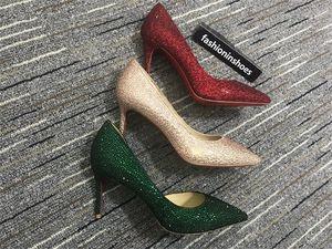 Роскошный дизайнер красные днища каблуки 10 см невесты горный хрусталь хрустальные алмазные блестины высокий каблук вечеринка выпускные красные нижние насосы свадебные туфли 35-42